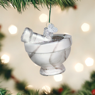 Old World Christmas Mortar & Pestle Ancient Appliance Glass Xmas Ornament 32332
