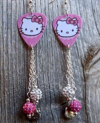 49bff0c53 Hello Kitty Guitar Pick Earrings with Silver Charms and Pink Pave Dangles