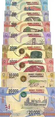 Madagascar 8 Note Set: 100 to 20000 Ariary (ND/2017) - Flora and Fauna/pNew