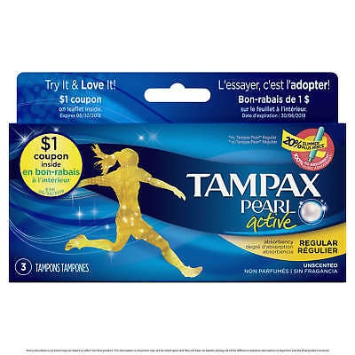 Tampax Pearl Tampons with Plastic Applicator, Regular, Unscented, 3ct