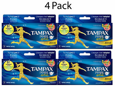 Tampax Pearl Tampons with Plastic Applicator, Regular, Unscented, 3ct, 4 Pack