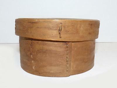 Eastern Woodland Bent Ash & White Pine Round Box With Hand-Sewn Joints