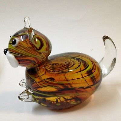 Art Glass Cat Paperweight - Amber & Opaque Yellow Swirls  - 10.5cm Tall, 855 gms