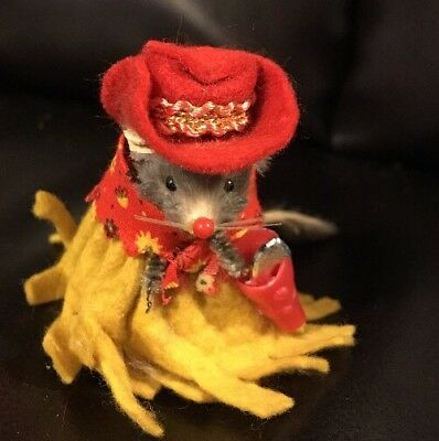 Vintage Original Toy Fur Mouse Little Cowgirl Mouse