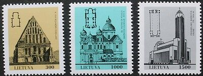 Churches stamps, 1993, Lithuania, SG ref: 516-518, 3 stamp set, MNH