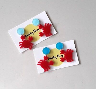 crab shuffle red acrylic statement stud dangle earrings pinup rockabilly kitsch