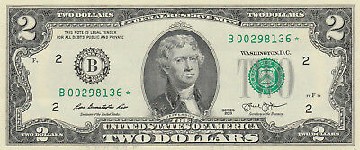 2013 New York $2 Star Note Low Serial Number BEP Replacement CU Uncirculated !