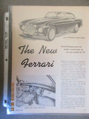 The New Ferrari 375 America & 250 Europa Nice 3 Page Article Car Life March 1954