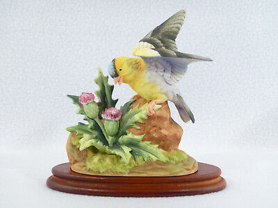 Andrea by Sadek AMERICAN GOLDFINCH Bird Figurine w/ Wood Base - #6564