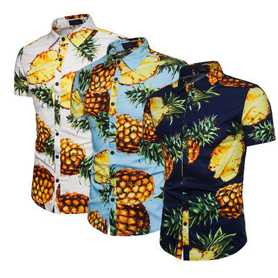 AU Mens Pineapple Print T Shirts Tops Casual Short Sleeve Hawaiian Beach Shirt