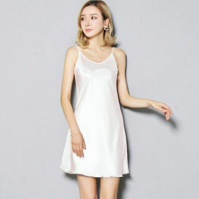 Ladies Satin Faux Silk Full Slip Under Dress Spaghetti Strap Camisole Nightdress