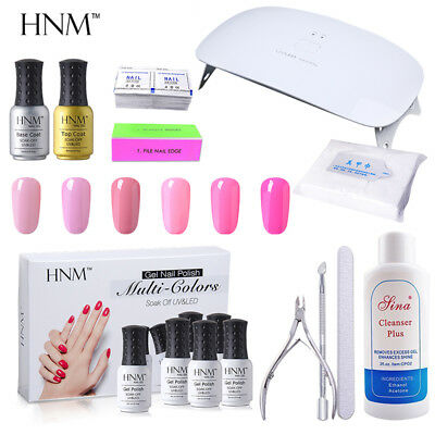 6pcs Gel Nail Polish Set + Base Top Coat + 24W Nail Lamp + Manicure Tools HNM
