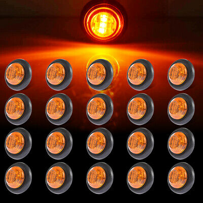 "20pcs 3/4"" Amber Round Led Clearance Side Marker Light Truck Trailer Boats 3LED"