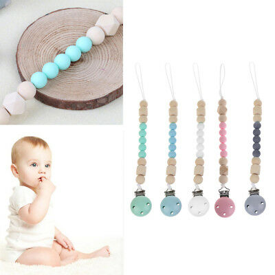 Candy Color Silicone Pacifier Clips Chain Holder Wood Beads Nipple Dummy Holder