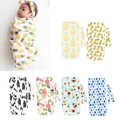 Newborn Baby Swaddle Blanket Cocoon Sleeping Bag Muslin Wraps Headband 2Pcs/Set