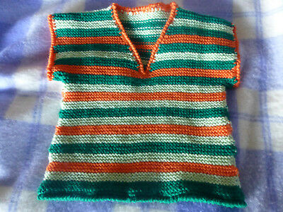 colourful hand knitted wool vest jumper for baby  suit 12 months old