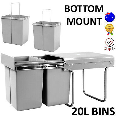 New KITCHEN CUPBOARD PULL SLIDE OUT BIN 2 Twin Double Dual Garbage Rubbish Waste