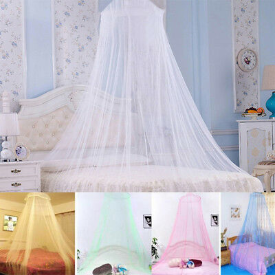White Pink Blue Queen Canopy Bed Curtain Dome Round Stop Princess Mosquito Net