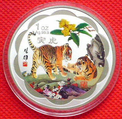 Fine Chinese Lunar Zodiac Colored Silver Coin - Year of the Tiger