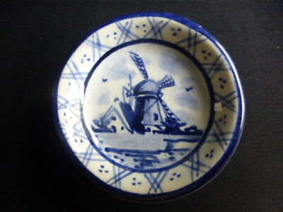 "Vintage  Miniature Dish 5.7cm Handpainted  Windmill & Cottage by ""Delft  Holland"