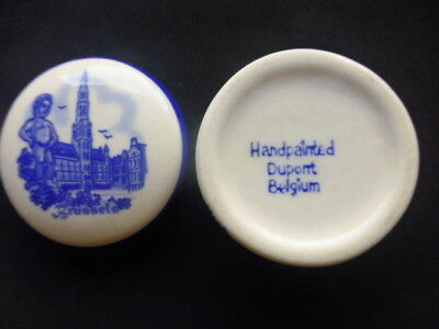 "Vintage Miniature Handpainted  ""Brussels"" Dupont  Belgium Pot with Lid"
