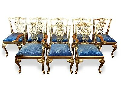Magnificent Set Of 8 Exquisite Gold Palace Chippendale Style Dining Chairs