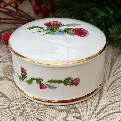 Staffordshire Lidded Trinket Pot - Pink Thistle Floral Gilded Fine Bone China