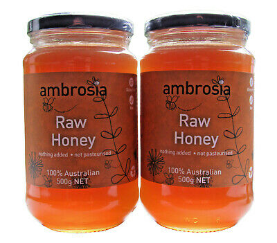 Ambrosia Raw Organic honey, Twin pack, 2 * 500 gm jars, free shipping