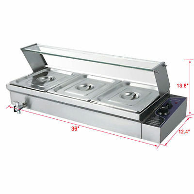 Food Warmer Commercial Stainless Steel Pan Wet Bain-Marie With 3 set Pot & Lid