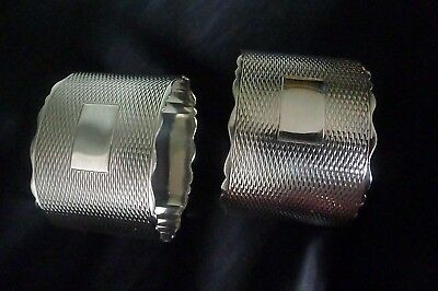 Vintage Hallmarked Sterling Silver Cased Pair of Napkin Rings by Lanson Ltd.