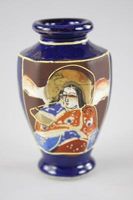 Antique Japanese Satsuma Hand Painted Mini Vase