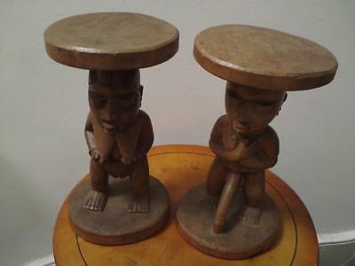 Large pair African Yoruba tribe carved male & female figures wooden stools