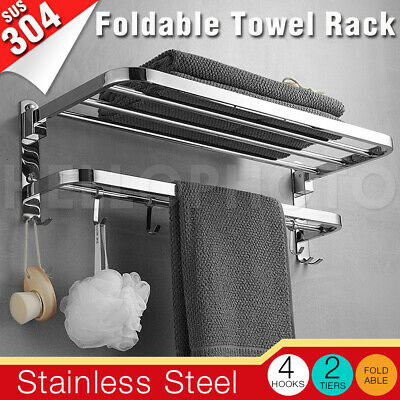 Double Towel Rail Rack Toilet Holder Bathroom 2 Bar Hanger Wall Mounted 100 CM