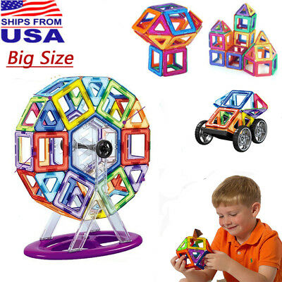 100PCS 3D Big Magnetic Building Tiles Sets Blocks Educational Toy For Kids Gift