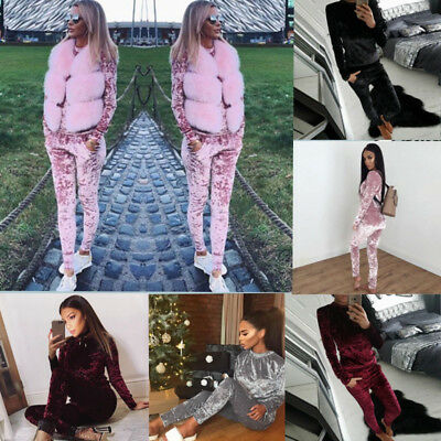 Women Crushed Velvet Lounge Suit Sweatshirt Pant Ladies Velour Samt Tracksuit AU