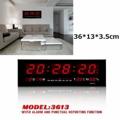 DIGITAL GRANDE LED Horloge Murale Température Humidité Calendrier Rouge  Seconde