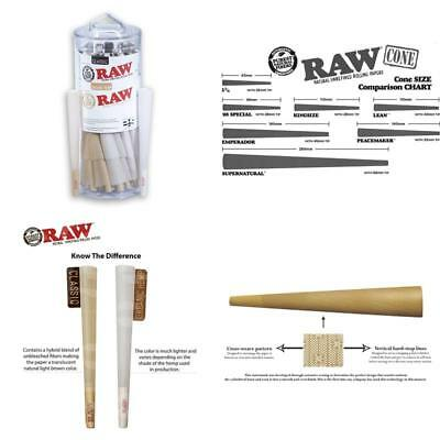 Raw King Size Organic And Classic Pre-Rolled Cones With Filter Tips (50 Classic