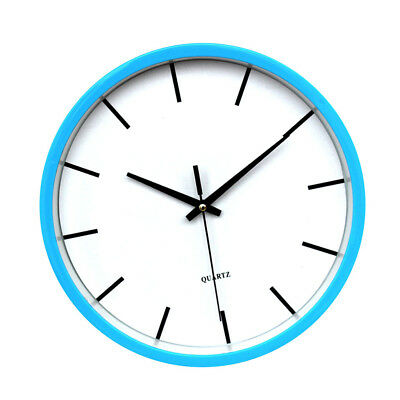 blesiya Round Wall Clock Numeral Quartz Battery Operated Easy Read 10'' Blue