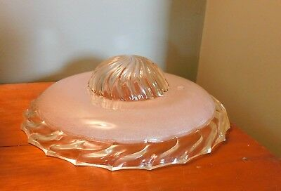 Art Deco Frosted Glass Chandelier Shade Vtg Clear Ceiling Light Fixture Antique