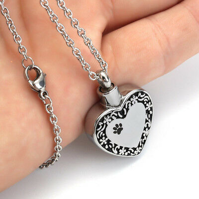 Pet Memorial Necklace Heart Cremation Ash Keepsake Urn Pendant Necklace Dog Cat