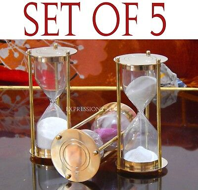 Vintage Hour Glass, Solid Brass Maritime Sand Timer Brass Hourglass SET OF 5