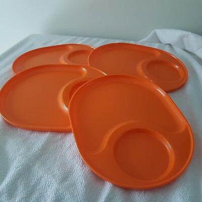 Tupperware Snackatizer Plate Trays Set of 4 each Orange New Snack Plates