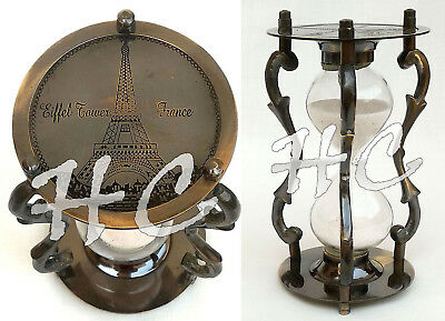 Vintage Brass & Glass Sand HourGlass Timer Nautical Maritime Antique Sand Clock