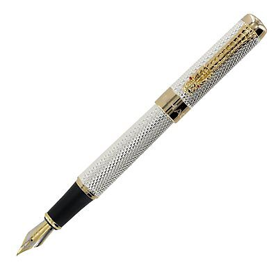 Jinhao Golden Dragon Red Crystal Eyes Fountain Pen with Push in Style Ink