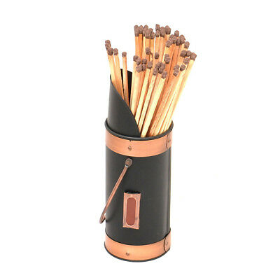 Black & Copper Match Holder with Extra-long Wood Burning Fire Fireside Matches