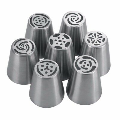 7 PCS Piping Stainless Steel Russian Tulip Nozzle Pastry Cake Decoration Icing
