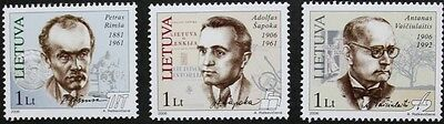 Personalities stamps, 2006, Lithuania, 3 stamp set, mint, never hinged