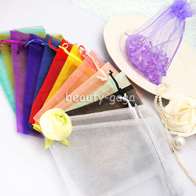 100x Organza Wedding Party Xmas Favour Gift Candy Bags Jewellery Pouches 4 Sizes