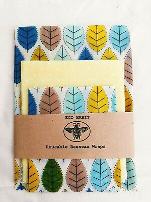 "Large Pk Of 3 ""Eco Habit"" Beeswax Food Wraps,Handmade in UK, Zero Waste"