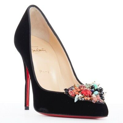 f12718397083 new CHRISTIAN LOUBOUTIN Diva Cora 100 embellished toe black velvet stiletto  heel